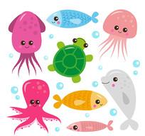 章鱼水母海洋生物矢量图