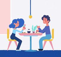 餐厅情侣人物矢量图