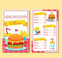 汉堡快餐食品价目单矢量