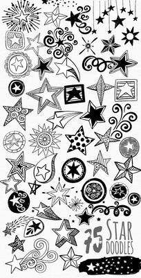 五角星星装饰设计图案矢量素材