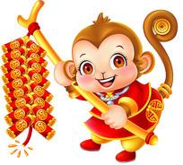 小猴拿鞭炮png素材
