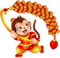 小猴拿长鞭炮png素材