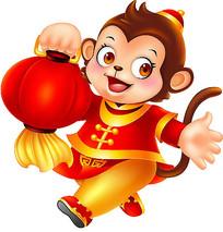 小猴拿灯笼png素材