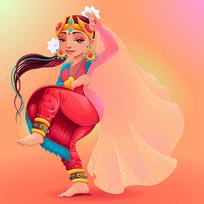 印度舞蹈美女矢量人物