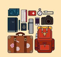 旅行装备设计矢量图