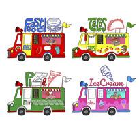 欧美快餐食品餐车矢量图