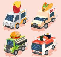欧美外卖动快餐车矢量素材