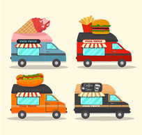 披萨汉堡包售卖餐车矢量图