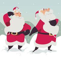 2个彩绘雪中的圣诞老人