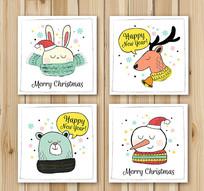 4款彩绘圣诞新年卡片矢量