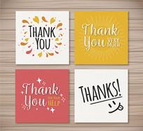 4款创意感谢卡片矢量素材