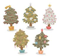 5款创意圣诞树盆栽矢量