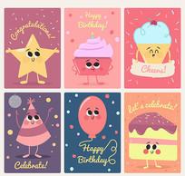 6款卡通生日祝福贺卡矢量素材