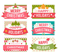 6款清新圣诞假期标签矢量