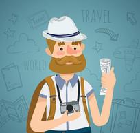 背包旅行的摄影师矢量图