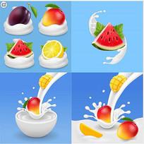 逼真奶花水果西瓜矢量素材