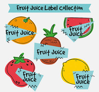 橙子西瓜标签矢量素材