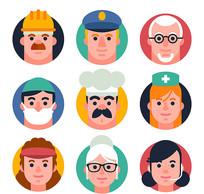 工人警察职业矢量人物头像