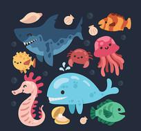海洋动物鲨鱼鲸鱼矢量素材