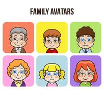家庭生活人物头像矢量素材