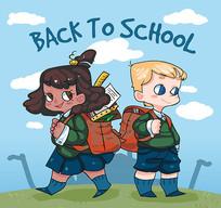 卡通风格背书包上学的男女学生