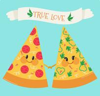 卡通披萨饼食品矢量图