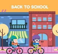 卡通骑自行车上学的男学生