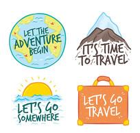 旅游出行度假标签矢量素材
