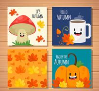 蘑菇落叶秋季风格矢量卡片