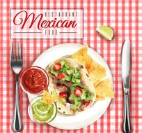 墨西哥餐厅卷饼矢量图