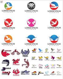 鸟类形状LOGO标志矢量