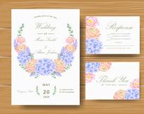 清新花卉结婚邀请函矢量模板