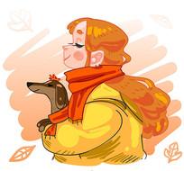 秋冬抱着宠物狗的小女孩矢量图
