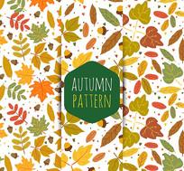 秋季树叶枝叶无缝背景矢量图