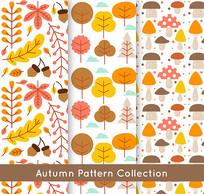 秋季橡子树木无缝背景矢量图