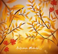 秋天枫树叶枝叶矢量素材