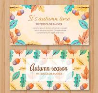 秋天树叶橡子矢量图