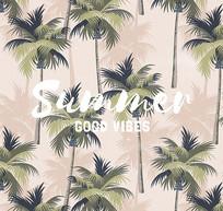 热带植物棕榈树矢量图
