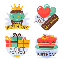 生日蛋糕礼盒矢量素材