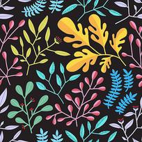 水彩质感树叶无缝背景矢量图