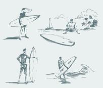 素描冲浪人物矢量素材