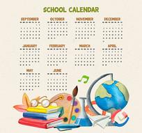校园风格日历条矢量图