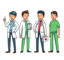 医务人员年轻男医生矢量图