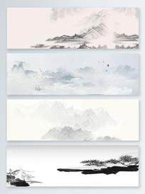 中国风简约水墨山水背景