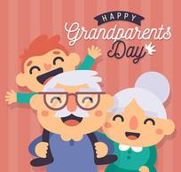 祖父母和孙子矢量图