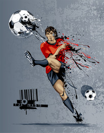 足球运动员劲射矢量图