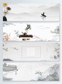 灰色茶壶水墨中国风背景