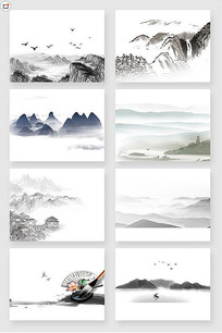 中国传统水墨山水画PSD