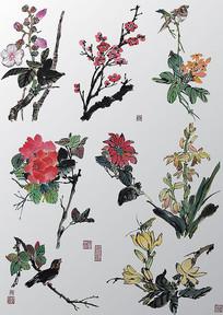 中国古典水彩花鸟画PSD