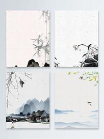 中国水墨山水艺术背景PSD